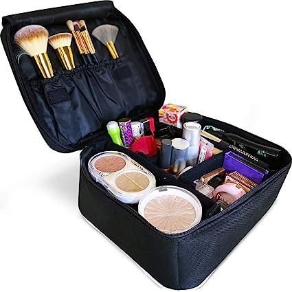 Eliza Huntley Organizador de maquillaje de viaje, estuche de maquillaje y neceser de viaje para mujeres, estuche cosmético, maleta de maquillaje negra: Amazon.es: Belleza