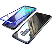 Coollee Galaxy S9 Plus Hülle Magnet 9H Tempered Glass Backcover für Samsung Galaxy S9 Plus, Handyhülle 360 Grad Magnetic Metall Frame Bumper Magnetische Adsorption Transparent Back Cover (Klar Blau)