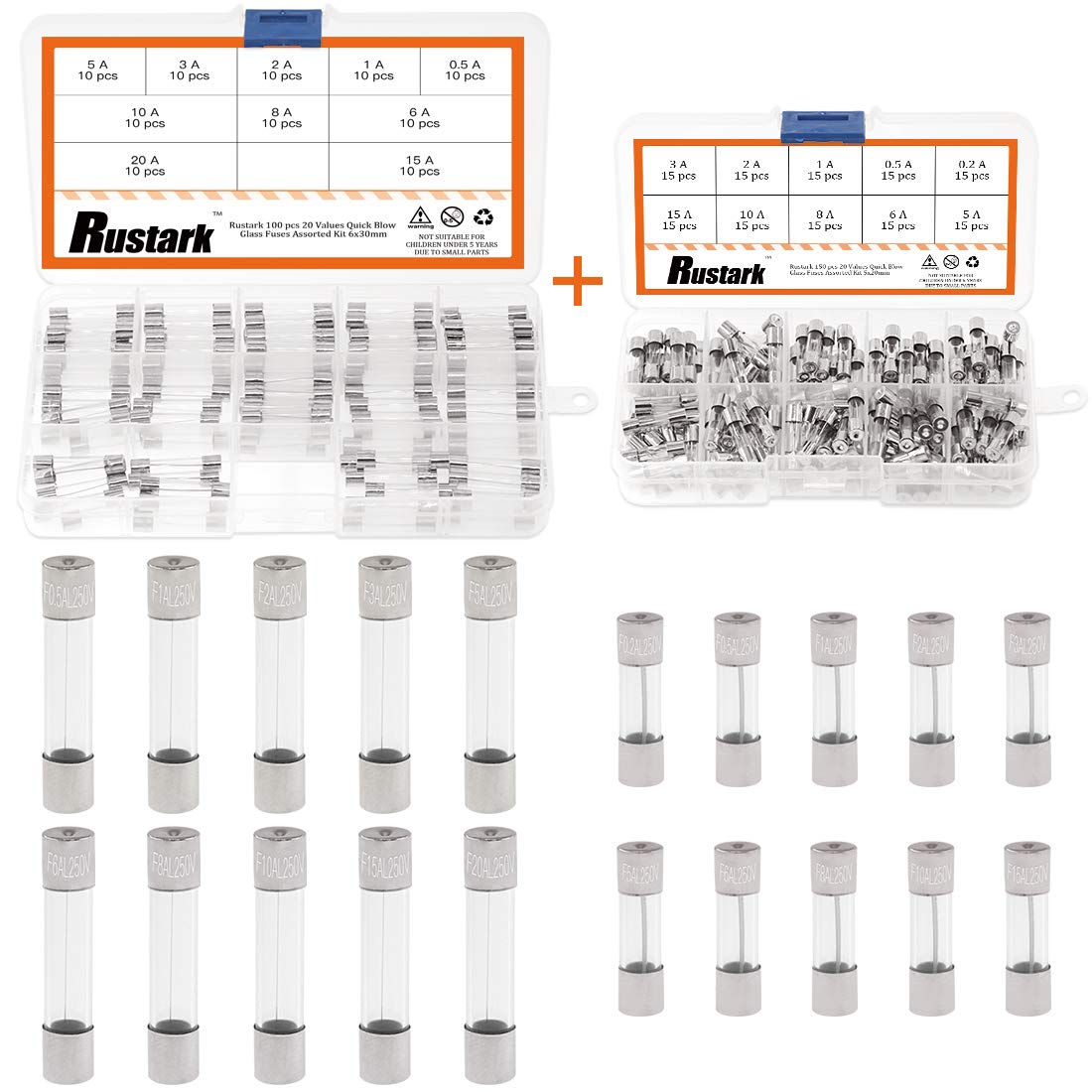 Rustark 250 pcs 20 Values Quick Blow Glass Fuses Assorted Kit 250V 5x20mm 0.2 0.5 1 2 3 5 6 8 10 15 and 6x30mm 0.5 1 2 3 5 6 8 10 15 20 Amp Mini Glass Tube Fuse in Plastic Boxes