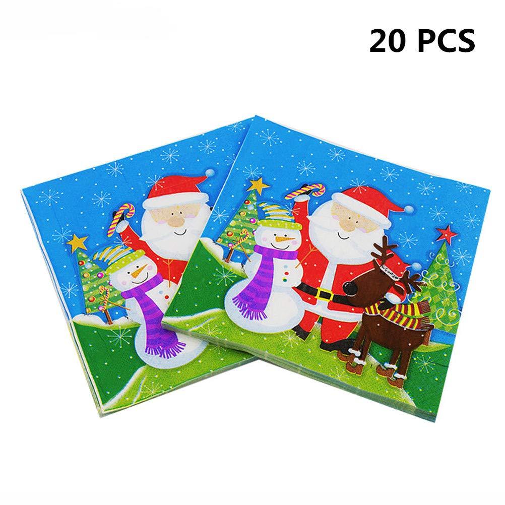Cha Long 20枚/パック クリスマス ナプキン 使い捨てペーパーナプキン レストラン&パーティー ティッシュナプキン 装飾 テーブル装飾 クリスマスパーティー 記念品 サンタクロース スノーフレーク B07H7L39TY