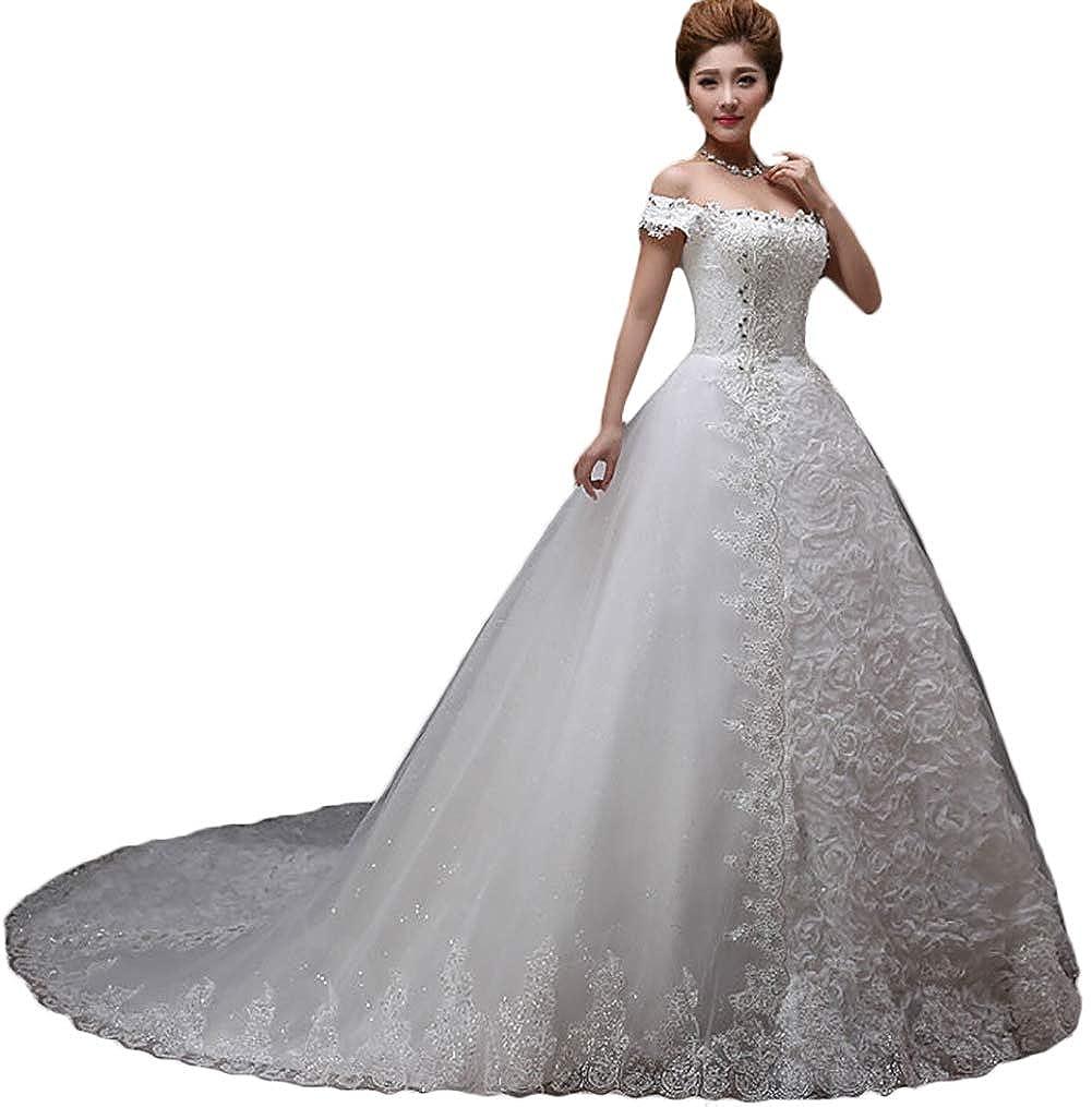 Retro Wedding Dresses.Baixia Vintage Retro Wedding Dresses Off Shoulder Applique