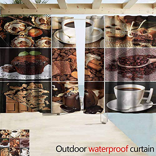MaryMunger Outdoor Blackout Curtains Kitchen Coffees Cupcake Chocolate Blackout Draperies for Bedroom W63x63L Inches