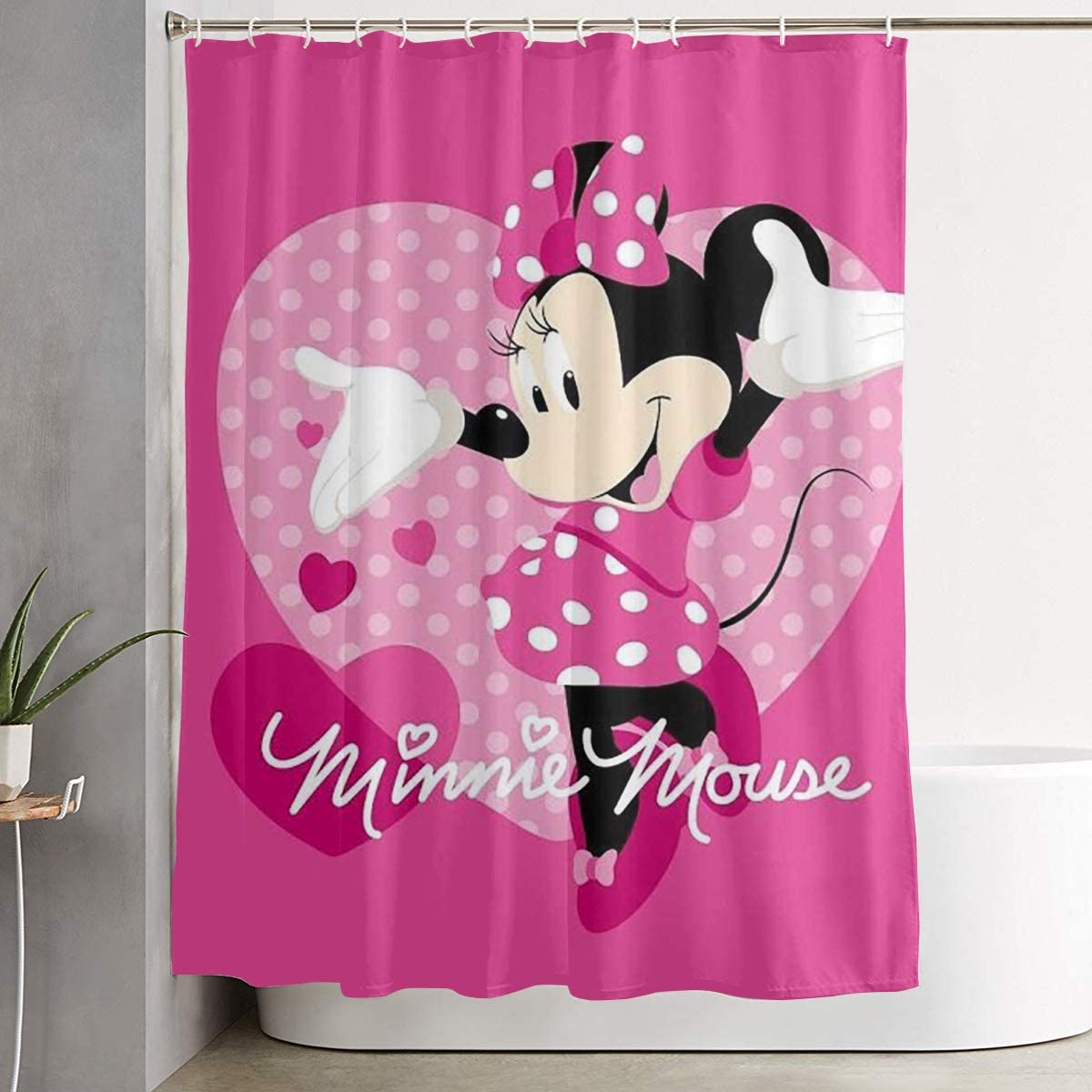 Stylish Shower Curtain Minnie Mouse Love Printing Waterproof Bathroom Curtain 60 X 72 Inches