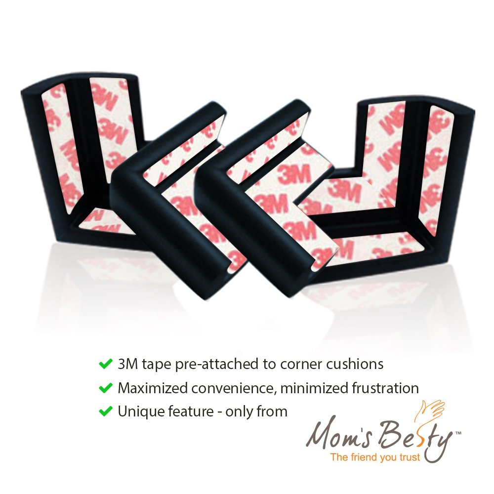 Mom's Besty Extra Dense Child Safety Protectors & Furniture Bumpers Set – 16.2 Ft. Total Coverage (15 Ft. Edge & 4 Taped Corner Guards) - Ebony Black - Free Home Baby Proofing Checklist by Mom's Besty (Image #3)