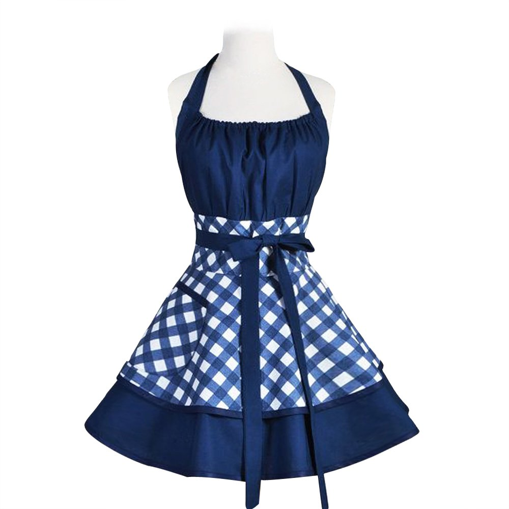 Pu-ai Vintage Aprons for Women Cotton Cooking Aprons Plus Size Retro Bib Kitchen Apron With Extra Ties & Pockets 22×30 inch (BLUE) by Pu-ai