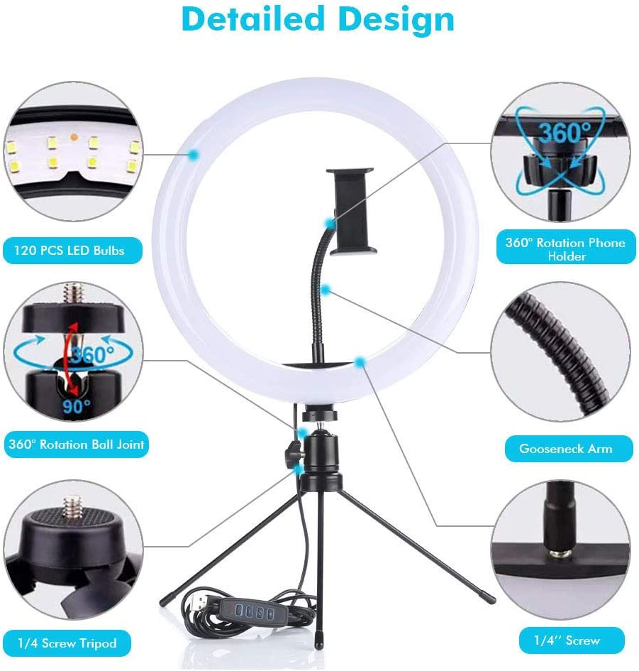 Selfie Ring Light with Stand and Phone Holder,10.2 Desk Dimmable LED Circle Lights with Tripod Bluetooth Remote Shutter Ringlight for Live Stream//Makeup//TIK Tok//YouTube Video//Photography//Vlog