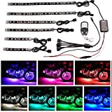 6pcs Motorcycle LED Light Kit RGB Multi-Color Flexible Strips Ground Effect Light Kit with Wireless Remote Control