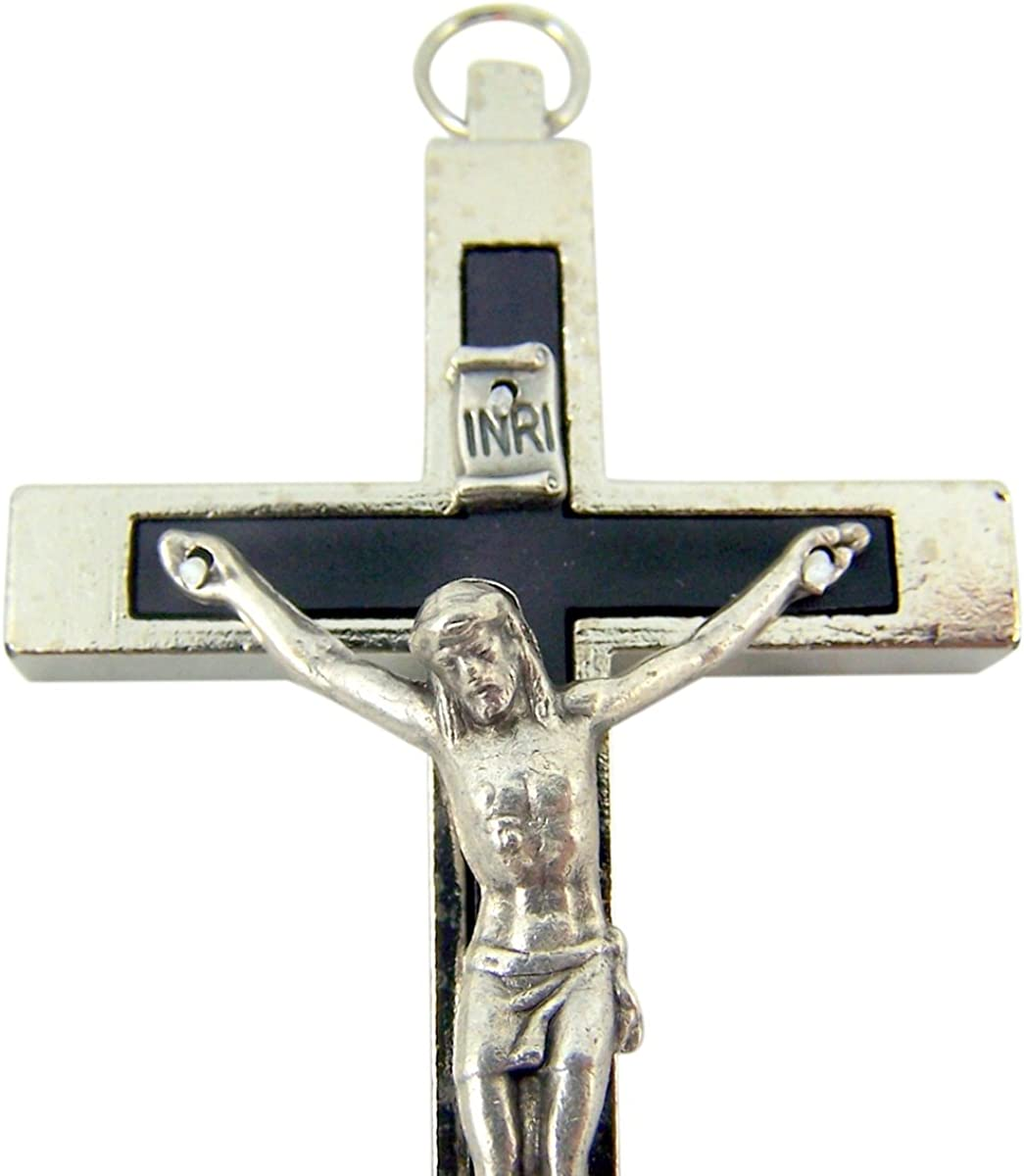 2 3//4 Inch Silver Toned Catholic Cross Crucifix with Black Inlay