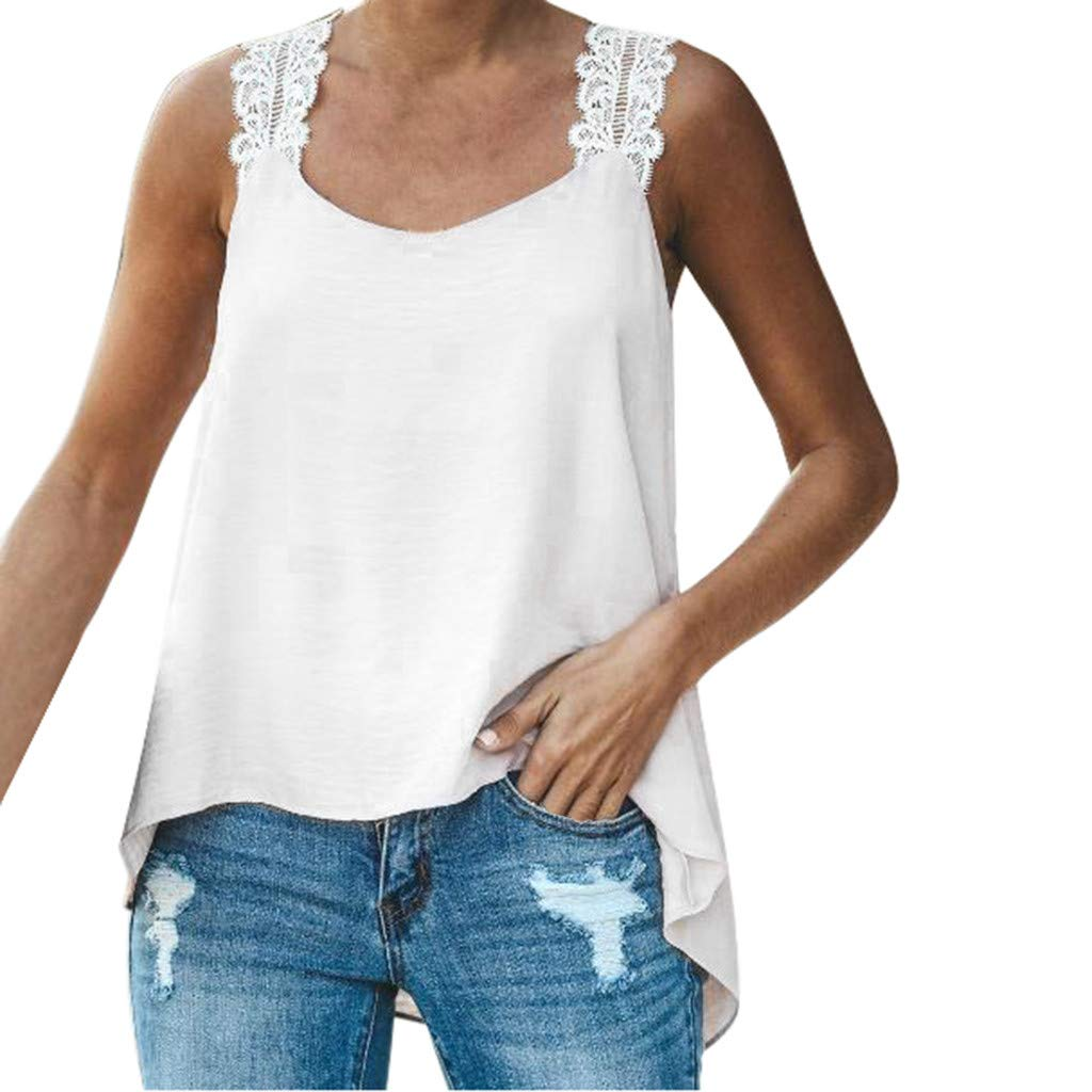 NUWFOR Women Plus Size Sleeveless V-Neck Lace Solid Vest Blouse Pullover Tops Shirt(White,US L Bust:26.0-34.6'')