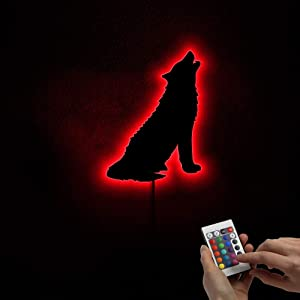 The Geeky Days LED Wall Lamp Sign Handmade Color Change Frameless Mirror Light Forest Wolf Howling Art Home Sign Décor