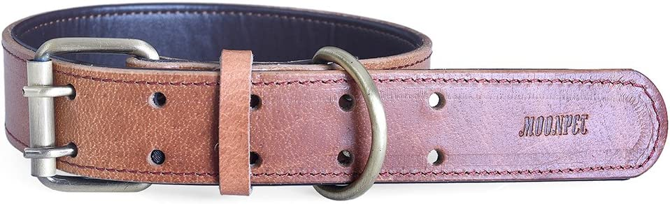 S,12.4-16.4, Dark Brown-New Custom Engraved ID Soft Padded Genuine Leather Dog Collar Heavy Duty Adjustable for Small Medium Large Dogs Moonpet Personalized Dog Collar