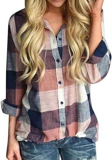 Botón de manga larga de color casual para mujer Camisa a cuadros sueltos Blusa Top Lino