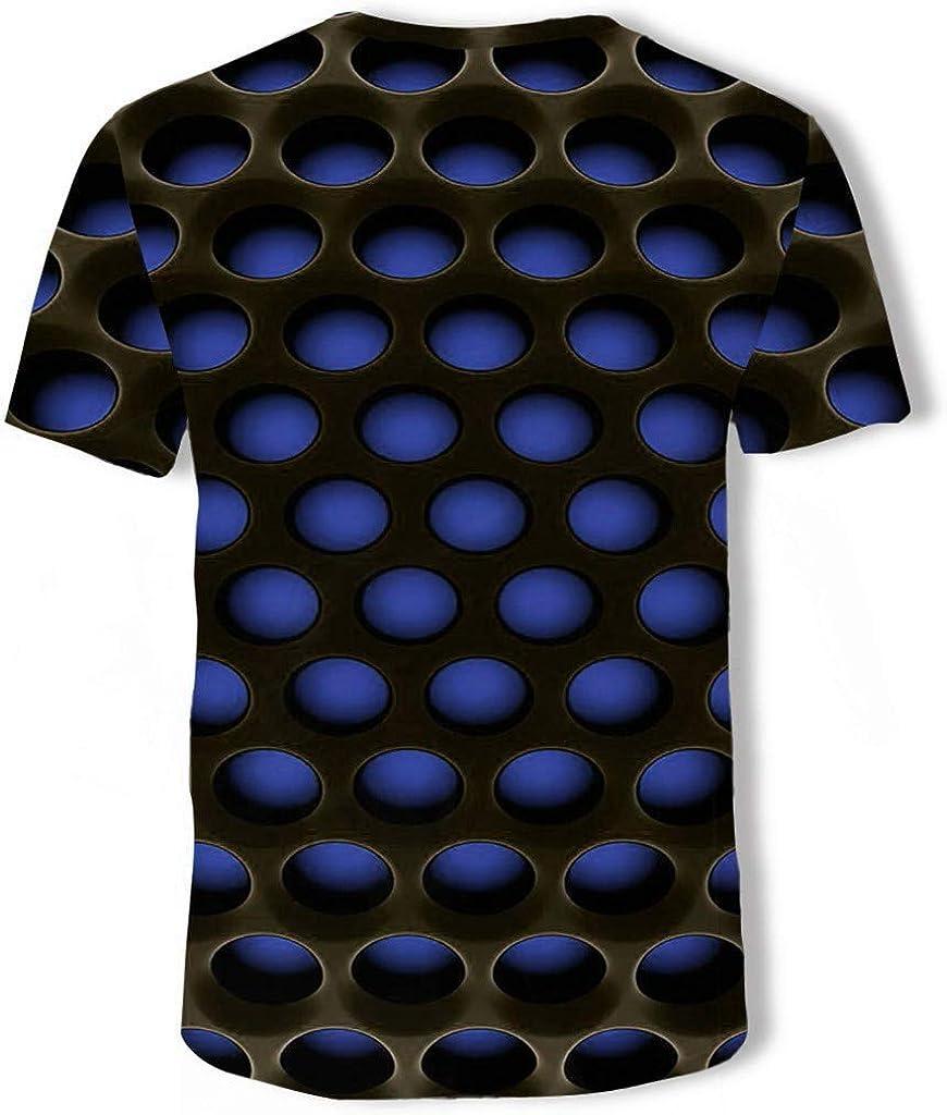 QIANSHION Top con Camicetta Comfort Estivo A Maniche Corte con Stampa 3D Stile da Uomo Confortevole Sport E Tempo Libero Cotone O-Collo Elasticit/à Classico Uomini T-Shirt