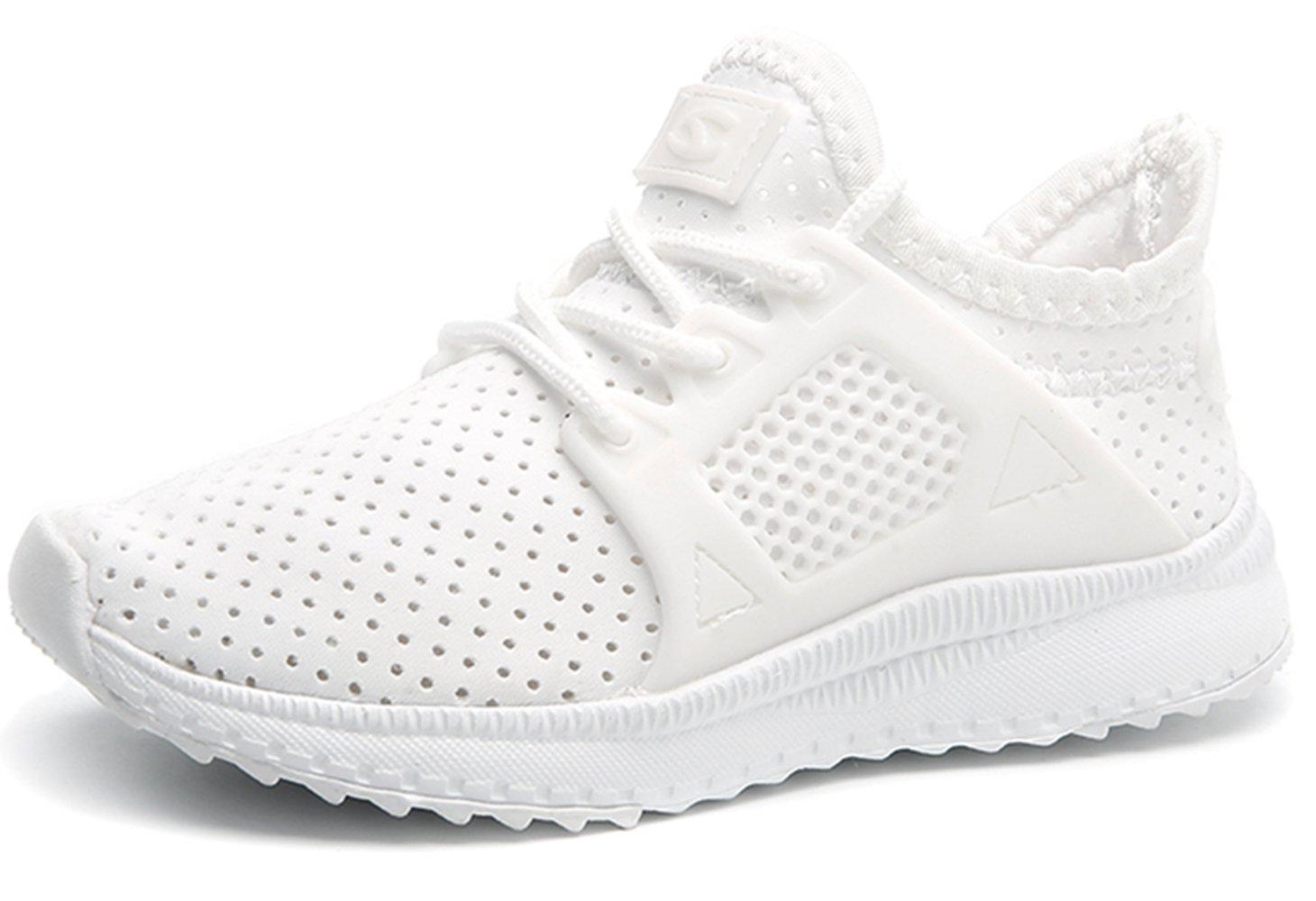 Kids Breathable Running Shoes Lightweight Slip On Sneaker for Boys Girls(White,4.5 M US Little Kid)