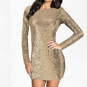 8005a072d82e4c MatureGirl Women s Sparkle Glitzy Glam Sequin Long Sleeve Flapper Party  Club Dress (