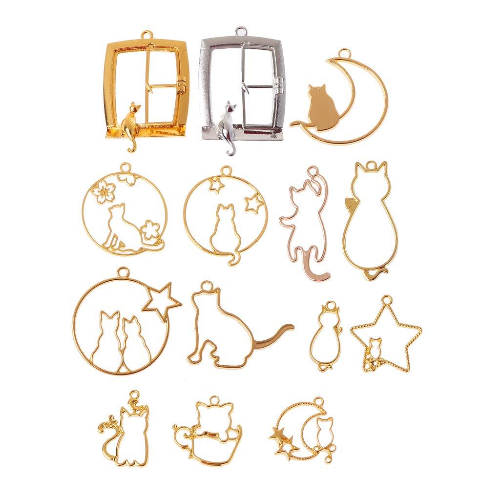 Yunnan 14Pcs Impostazione di castone Aperto con Cornice in Resina UV Pendente in Bianco per Gatto da Compagnia per creazione di Gioielli