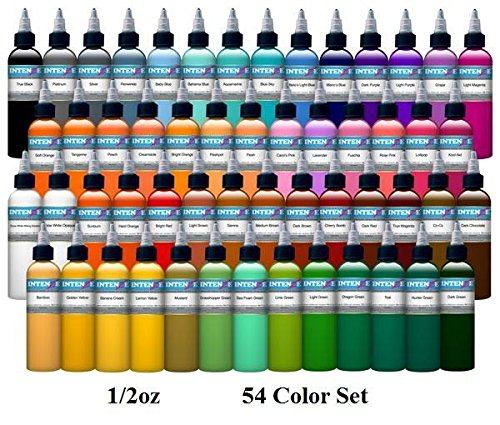 54 Color Set - Intenze Tattoo Ink - 1/2oz Bottles