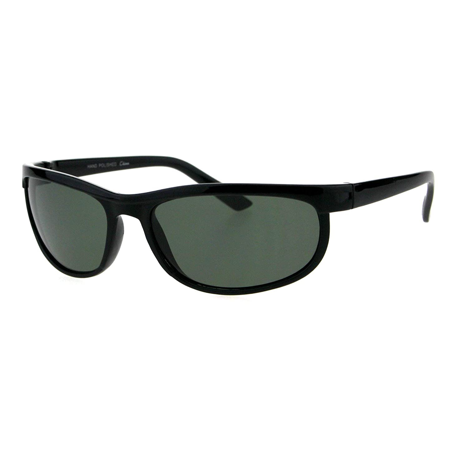 21d43f242e9 Amazon.com  Mens Tempered Glass Plastic Biker Style Rectangular Oval Sunglasses  Black Green  Clothing