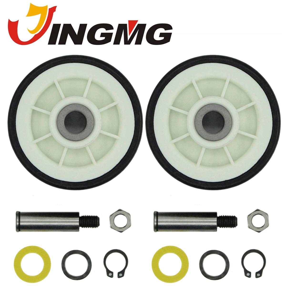 Jingmg 303373K Drum Roller with Shaft Dryer Wheel Support Kit Fit for Whirlpool & Maytag Dryer (2 Pack)