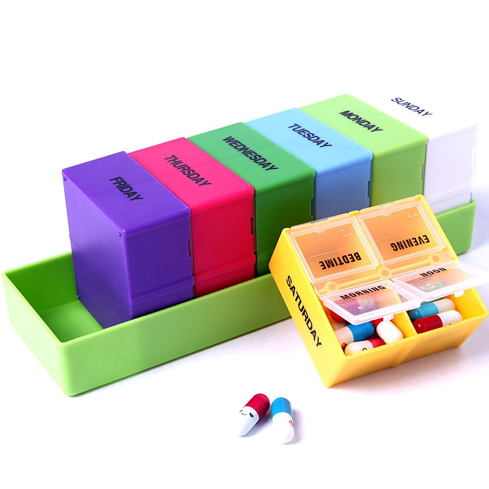 XINHOME Larger Weekly 7 Day 4 Compartment Travel Pill Box Organizer Reminder Container with Green Plastic Tray