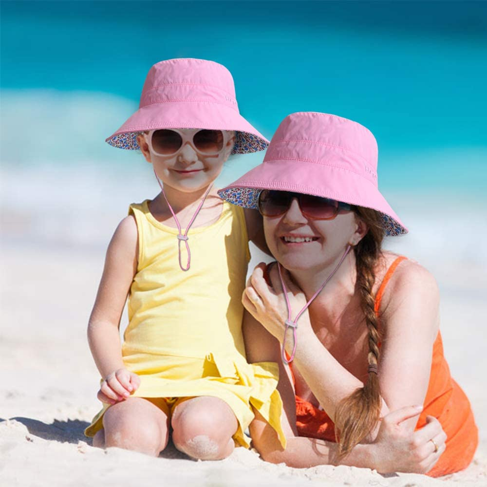 Kids Girls Wide Brim Bucket Sun Hat Packable Beach Play Hat with Ponytail Hole