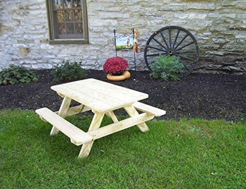 A&L Furniture 4' Amish-Made Pressure-Treated Pine Kids Picnic Table, Oak Stain
