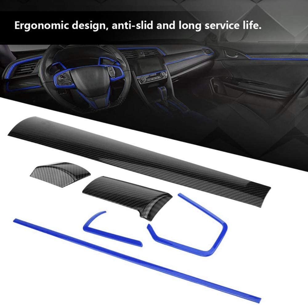 BOYUER 6PCS Civic Accessories Carbon Fiber Center Consoles Panel Stickers Cover Dashboard Trims Strips Inner Decals for 10th Gen Honda Civic 2020 2019 2018 2017 2016 Blue+Black