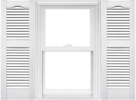 Amazon Com Mid America Open Louver Vinyl Shutters 1 Pair 14 5 X 25 001 White Home Kitchen