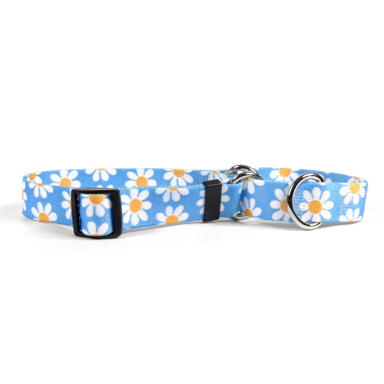 Yellow Dog Design Blue Daisy Martingale Dog Collar 1'' Wide And Fits Neck 14 To 20'', Medium