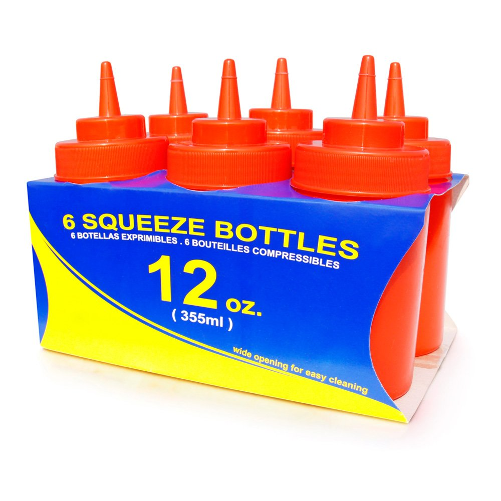 New Star Foodservice 25965 Squeeze Bottles, Plastic, Wide Mouth, 12 oz, Clear, Pack of 6