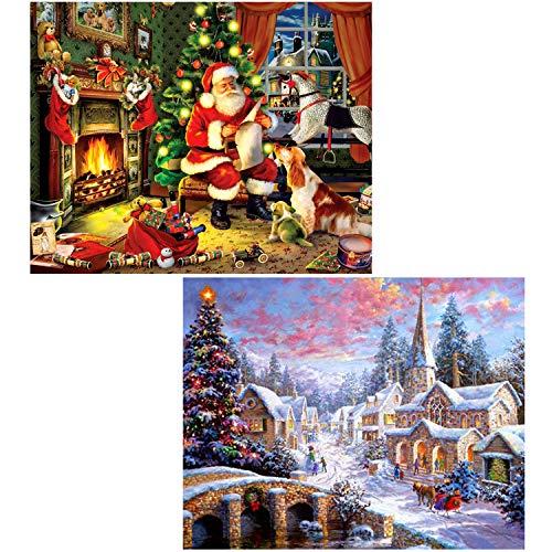 Full Drill 5D Diamond DIY Painting Craft Kit Home Wall Hanging Decor - Christmas (16X12inch/40X30CM) and Santa(16X12inch/40X30CM)