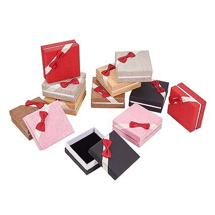 NBEADS Caja de regalo con lazo de cartón para pulsera, joyería, 12 unidades,