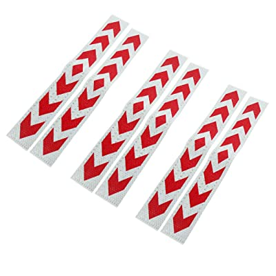 uxcell 6pcs Red White Car Reflective Self Adhesive Warning Tape Sticker Decal: Automotive