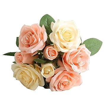 Flores Artificiales,Plantas Artificiales Ramo Flores Hortensia 8 Cabezas Rosas Casa Jardin Cumpleaños Boda Fiesta