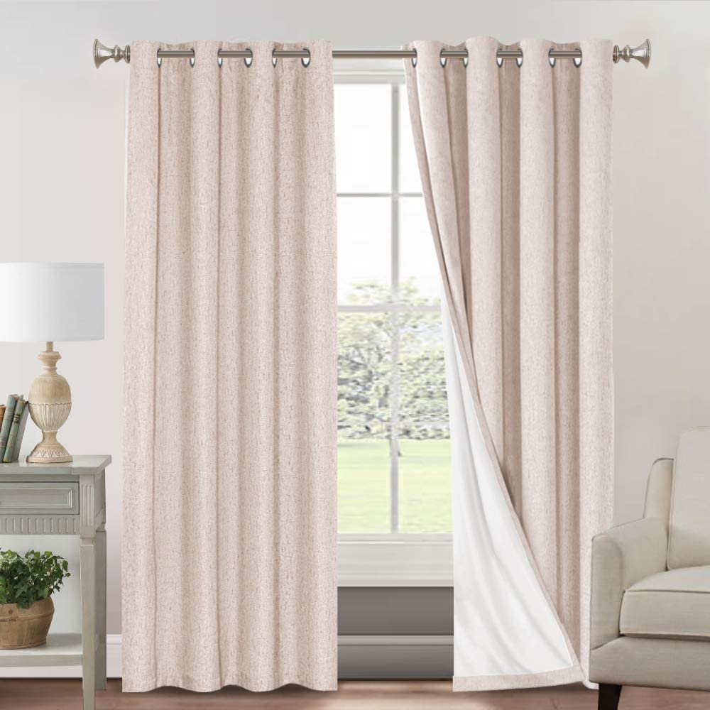 W x L 46 x 72 Beige 2 Panels Thermal Insulated Linen Look Blackout Curtains with Blackout Liner for Bedroom Livingroom Rose Home Fashion 100/% Blackout Curtain Set with Eyelet