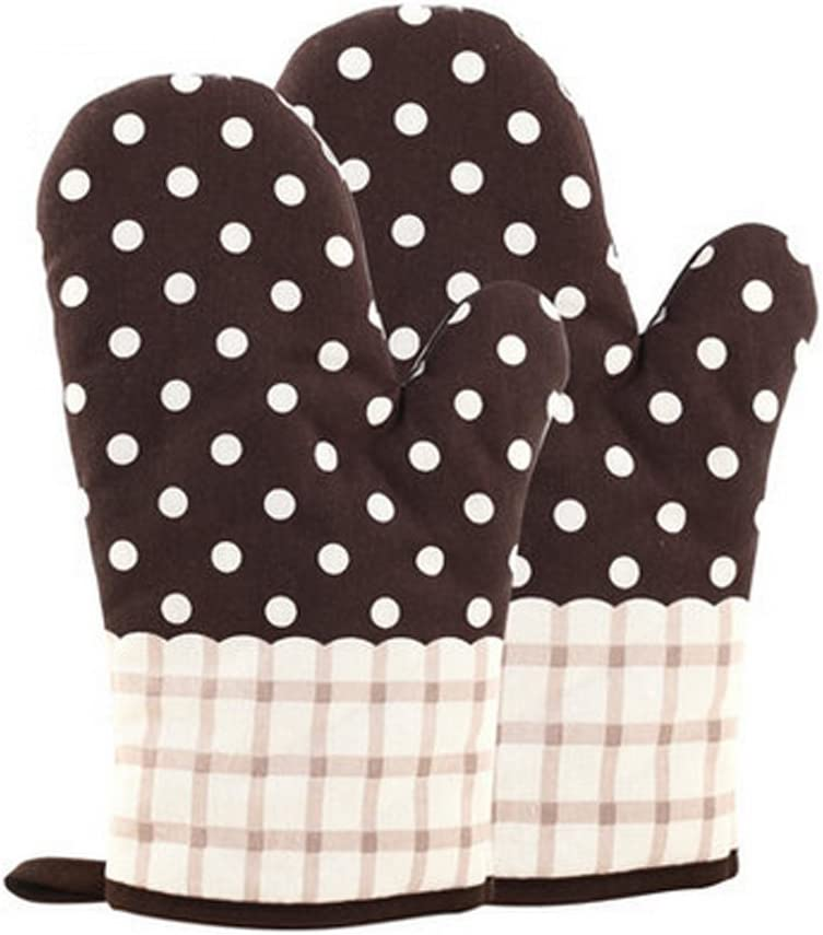 KinChi Glove Microwave BBQ Oven Cotton Baking Pot Mitts Cooking Heat Resistant Kitchen,100% Quilted Cotton with Thick Terry Cloth Lining, Set of 2 Mittens (Black)