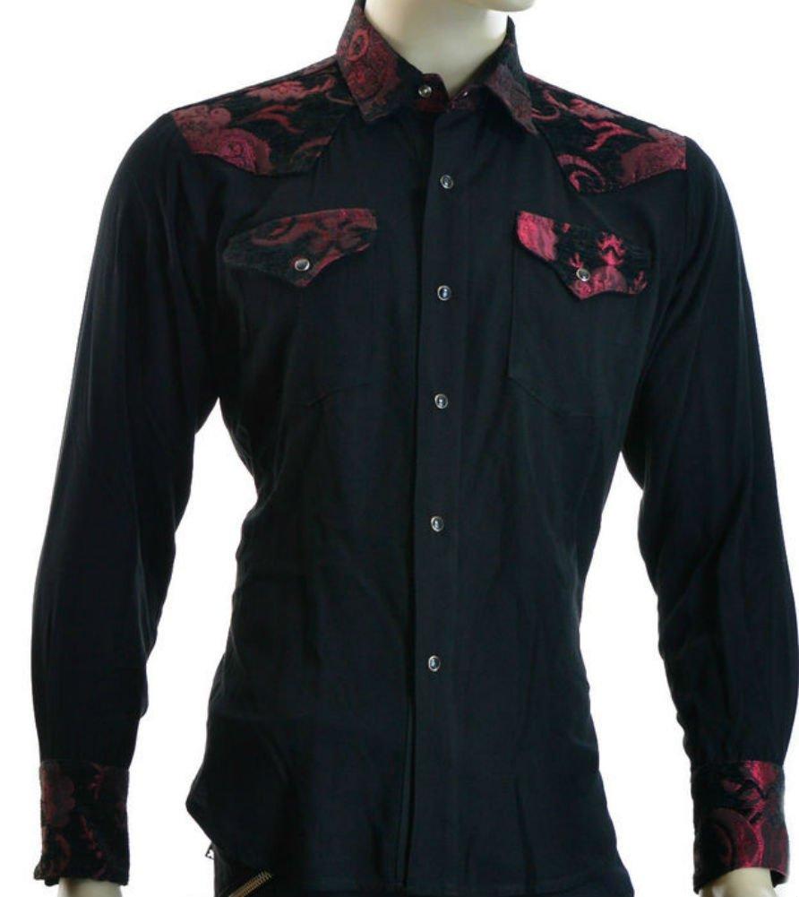 Shrine Rocker Steampunk Cowboy Rodeo Western Wild West Black Red Tapestry Shirt (XL)