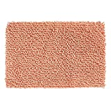 mDesign Soft Microfiber Polyester Non-Slip Rectangular Spa Mat, Plush Water Absorbent Accent Rug for Bathroom Vanity, Bathtub/Shower, Machine Washable - 30' x 20' - Coral