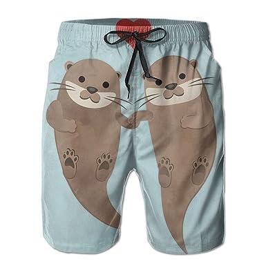 92f17e7eb30da5 Kurabam Mens Beach Shorts, Cute Sea Otters Beach Wear Shorts for Men Boys,  Outdoor Short Pants Beach Accessories at Amazon Men's Clothing store: