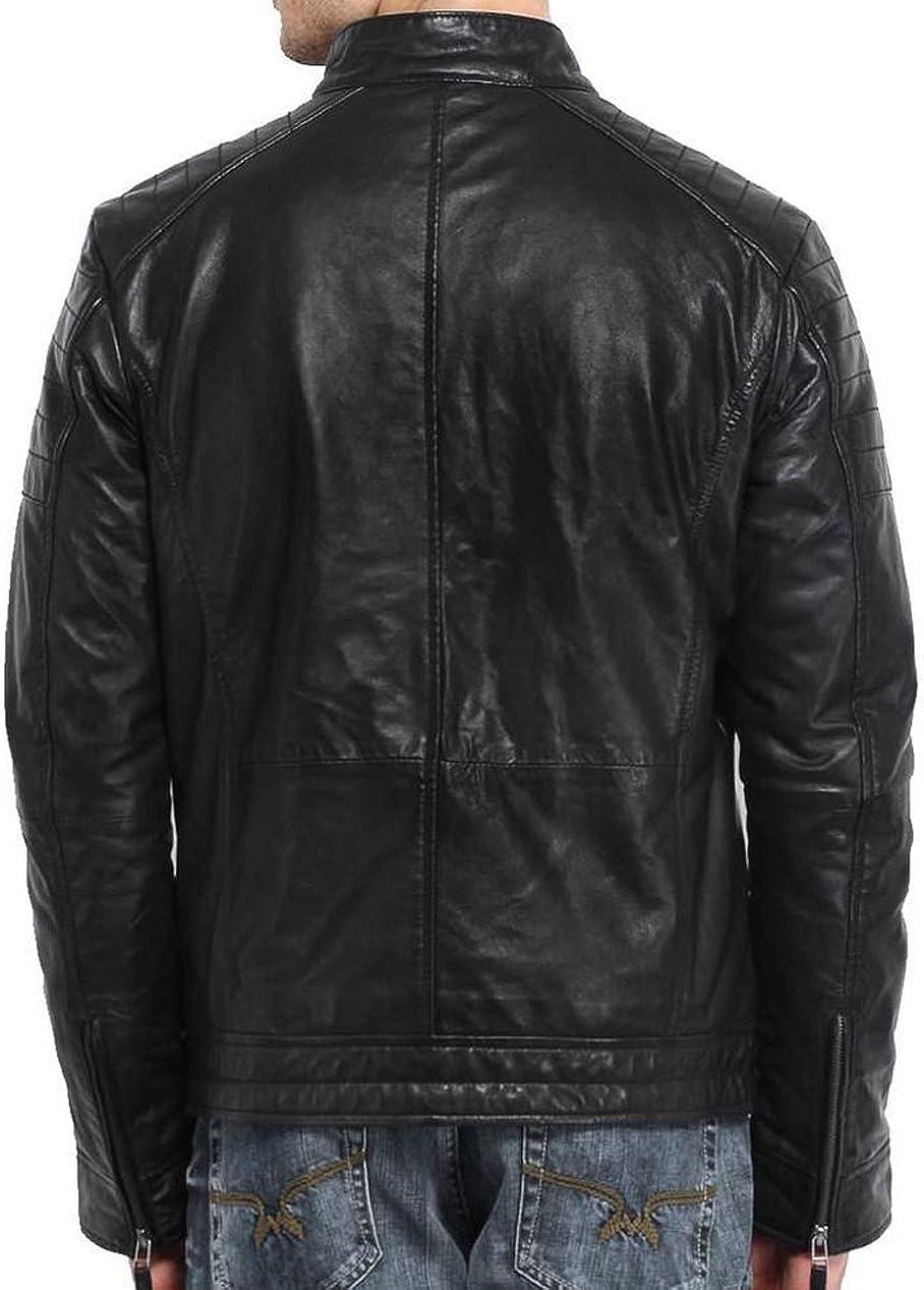 Kingdom Leather New Men Designer Genuine Lambskin Soft Biker Leather Jacket X1046