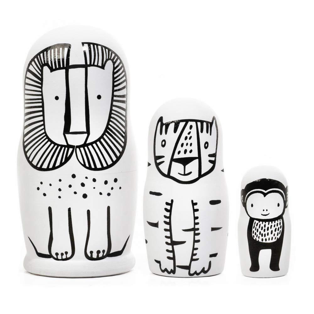 Wee Gallery, Set of 3 Nesting Dolls, Handmade Wooden Nesting Doll Set - Wild Animals by Wee Gallery