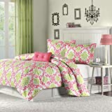 Mizone Katelyn 4 Piece Comforter Set, Full/Queen, Coral