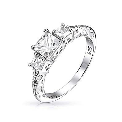5f6dd88dc Bling Jewelry Three Stone Princess Cut CZ Vintage Style 925 Sterling Silver Engagement  Ring,Clear