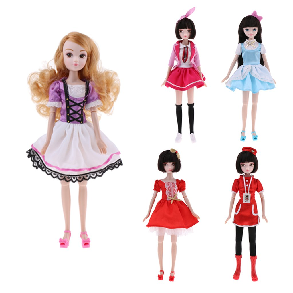 MagiDeal 28cm// 11 inch Chinese Kurhn Doll Costume Doll Flexible10 Joint BJD Kid Action Figure Toy Gift with Shoes Clothes Accessories Red