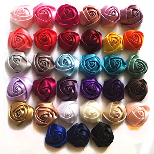 Make Satin Ribbon Roses - Yazon 1.5inch Satin Ribbon Rosette Flower DIY Hair Flower 40pcs