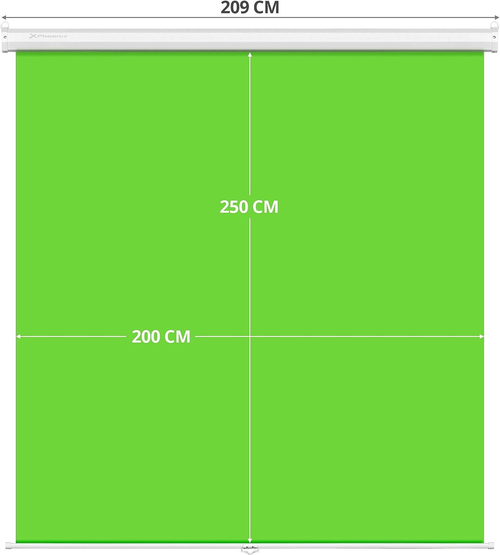 Antiarrugas Phoenix Technologies Pantalla Chroma Verde para Streaming y Fotografia Profesional Fijaci/ón Techo o Pared Fondo Interactivo No Reflectante 2 x 2.5 Metros