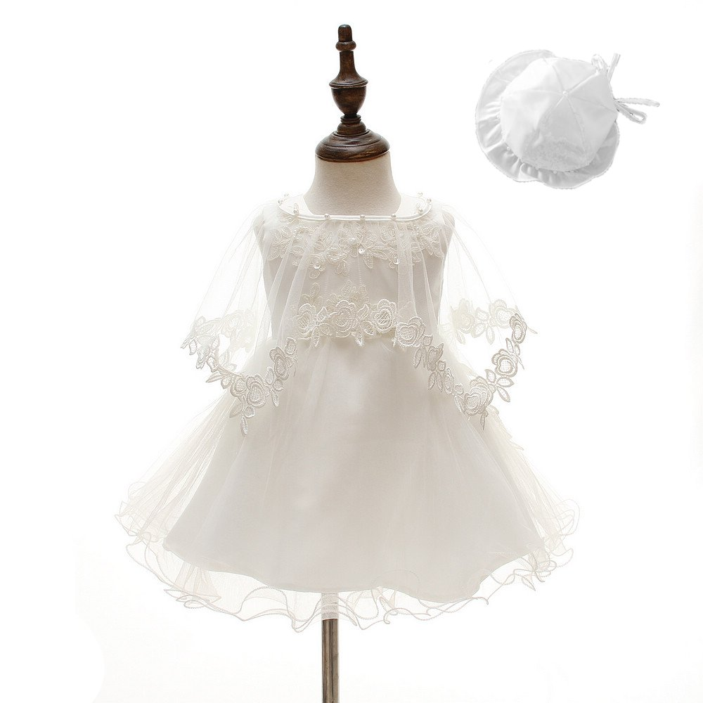 DoMii Newborn Baby Girl Christening Grown Lace Baptism Dress with Bonnet and Shawl