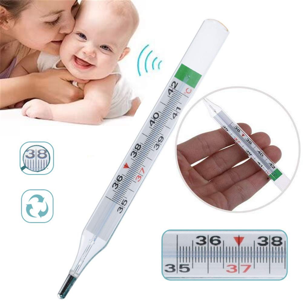 HEXIN Traditional Glass Thermomete Mercury Free Safety Thermometers for Indoor Science Use Adult Baby