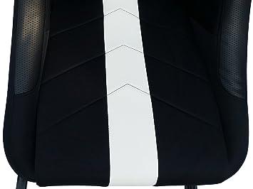 Asiento de simulación con estructura para ordenador y consola, tapizado en tela, color negro/blanco: Amazon.es: Coche y moto