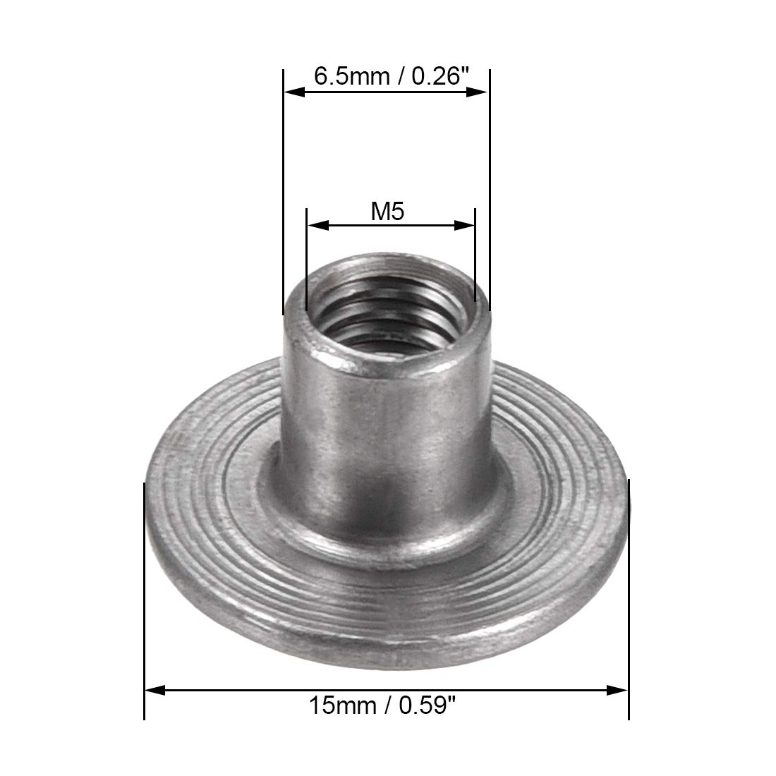 uxcell 30Pcs M10x25x1.6mm Brad Hole Tee Nut Carbon Steel Round Base Screw-in T-Nut